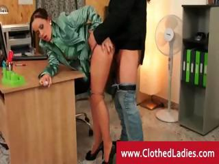 Naughty assistant gets fucked on a desk