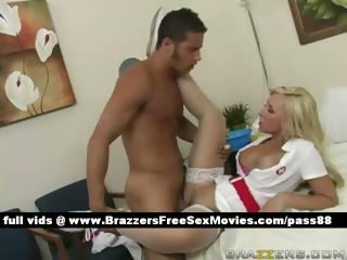 Amazing blonde nurse on the hospital bed gets her pussy licked