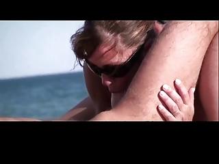 Beauty Milf Sucking on French Beach by TROC