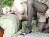 Pale blonde milf in black pantyhose gets drilled doggy style