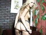 Beautiful girl Crystal Klein stripping and teasing