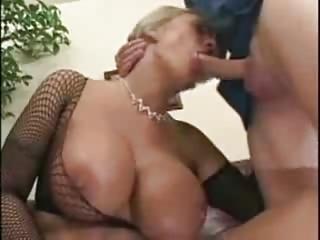 Blonde Milf Yon Huge Tits in Fishnets SM65