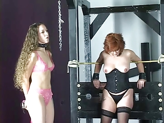 Cute young brunette girls almost lingerie torture each other almost the bdsm lock-up