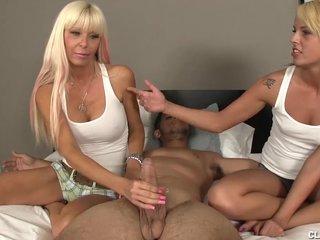 Double Blonde Morning Handjob