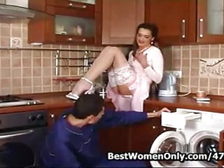 Russian Mature Fucks Repair Guy In Kitchen