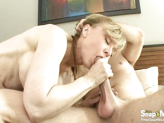 Hot Blonde Lady Enjoys And Rides Horny Boy And His Lovely Pecker