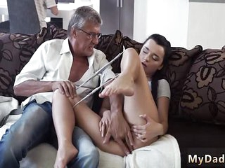 Extreme daddy fuck Her beau's dad screwed her stiff on tell she orgasms on his mature dick