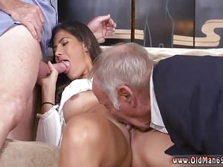 Argentinian young horny babe gets double dicked from two old mature grandpa who start licking her out