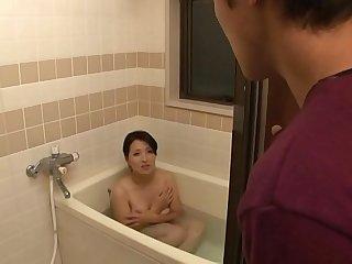 son and mom share bathroom