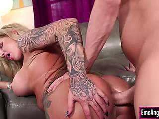Breasty tattooed stepmom mouths and booty screwed by her stepson