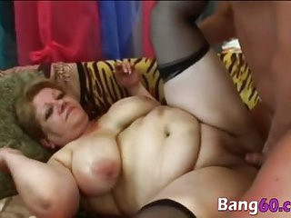 BBW mature bitch gets torn by pornstar large cock in her old fat body who hasnt been fuck in years