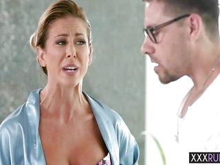 Wet mature blonde kissing a hot petite MILFs boobs