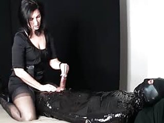Hot Busty MILF Jerking Cock