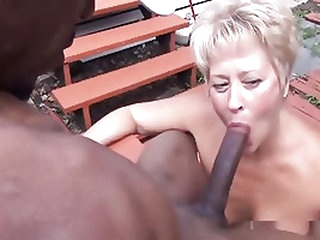 Mature blonde will do jut about anything for a black pointer cock