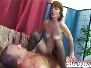 Old lady Ivet riding younger big cock fucking having a nice ride taking this young spunk