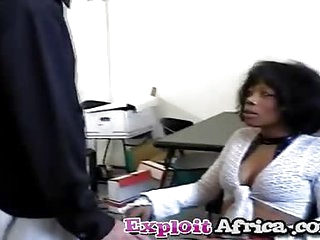 Milf black babe hairy pussy fucked hard by younger stud